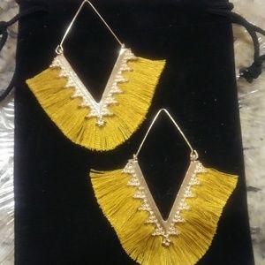 Boho V Shaped Gold Tassel Earrings